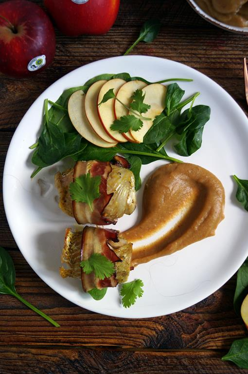 Dorsz zapiekany z boczkiem musem jabłkowym (2)